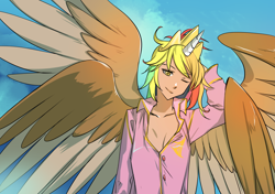 Size: 1400x988 | Tagged: safe, artist:bakki, oc, oc:rainbow feather, human, alicorn humanization, clothes, crown, four wings, grifficorn, grifficorn humanization, horn, horned humanization, humanized, interspecies offspring, jewelry, magical lesbian spawn, messy hair, multiple wings, offspring, pajamas, parent:gilda, parent:rainbow dash, parents:gildash, princess, regalia, sleepy, solo, winged humanization, wings