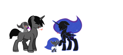 Size: 3648x1644 | Tagged: safe, artist:diamondwolf2990, king sombra, nightmare moon, oc, oc:midnight, oc:stormlight, alicorn, pony, unicorn, baby, baby pony, base used, family, female, heart, male, offspring, parent:king sombra, parent:nightmare moon, parents:sombramoon, reformed sombra, shipping, simple background, sombramoon, straight, white background