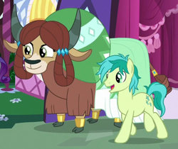 Size: 608x510 | Tagged: safe, screencap, sandbar, yona, earth pony, pony, yak, the last problem, carousel boutique, cloven hooves, cropped, female, male, monkey swings, older, older sandbar, older yona, stallion