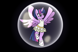 Size: 2048x1365 | Tagged: safe, artist:platinumdrop, twilight sparkle, alicorn, pony, ballerina, black background, bubble, clothes, dancing, female, leotard, mare, pose, request, simple background, skirt, smiling, solo, spread wings, tutu, twilarina, twilight sparkle (alicorn), wings