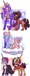 Size: 1133x2835 | Tagged: safe, artist:spuds-mcfrenzy, fluttershy, rainbow dash, saffron masala, twilight sparkle, zesty gourmand, oc, oc:studmuffin, alicorn, pony, the last problem, cloud, elderly, female, lesbian, older, older fluttershy, older rainbow dash, older saffron masala, older zesty gourmand, princess twilight 2.0, prone, shipping, simple background, transparent background, twilight sparkle (alicorn), zesty masala