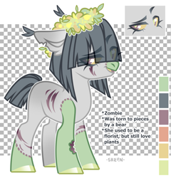 Size: 1877x1952 | Tagged: safe, artist:shelin_arts, oc, oc only, unnamed oc, earth pony, pony, undead, zombie, zombie pony, bite mark, blank flank, colored hooves, colored pupils, colored sclera, ear fluff, engrish, eye clipping through hair, female, looking at you, mare, open mouth, scar, signature, solo, stitches, torn ear