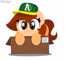 Size: 4096x3800 | Tagged: safe, artist:omgitslynx, oc, oc only, oc:vanilla creame, baseball cap, box, cap, cute, hat, looking at you, oakland athletics, simple background, sneaking, white background, wide eyes