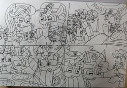 Size: 3664x2565 | Tagged: safe, artist:徐詩珮, fizzlepop berrytwist, glitter drops, pinkie pie, spring rain, starlight glimmer, sunset shimmer, tempest shadow, trixie, twilight sparkle, alicorn, earth pony, pony, unicorn, series:sprglitemplight diary, series:sprglitemplight life jacket days, series:springshadowdrops diary, series:springshadowdrops life jacket days, aid marshall (paw patrol), alternate universe, bisexual, broken horn, chase (paw patrol), clothes, cute, eating, female, food, glitterbetes, glitterlight, glittershadow, horn, lesbian, lifeguard, lifeguard spring rain, lifejacket, magical quartet, magical trio, mare, marshall (paw patrol), paw patrol, polyamory, shipping, skye (paw patrol), sprglitemplight, spring rain is not amused, springbetes, springdrops, springlight, springshadow, springshadowdrops, spy chase (paw patrol), tempestbetes, tempestlight, twilight is not amused, twilight sparkle (alicorn), unamused, zuma (paw patrol)