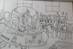 Size: 3542x2404   Tagged: safe, artist:徐詩珮, fizzlepop berrytwist, glitter drops, spring rain, tempest shadow, twilight sparkle, alicorn, pony, unicorn, series:sprglitemplight diary, series:sprglitemplight life jacket days, series:springshadowdrops diary, series:springshadowdrops life jacket days, alternate universe, bisexual, broken horn, clothes, cute, equestria girls outfit, female, glitterbetes, glitterlight, glittershadow, horn, lesbian, lifeguard, lifeguard spring rain, polyamory, shipping, sprglitemplight, spring rain is not amused, springbetes, springdrops, springlight, springshadow, springshadowdrops, summer, tempestbetes, tempestlight, twiabetes, twilight sparkle (alicorn), unamused, whistle, whistle necklace