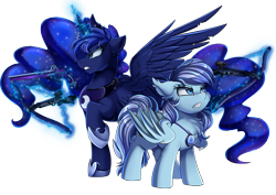Size: 3550x2509 | Tagged: safe, artist:pridark, princess luna, oc, oc:nightlight charm, bat pony, pony, crossbow, female, high res, mare, musket, simple background, transparent background