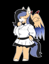 Size: 693x898 | Tagged: safe, artist:chao-xing, oc, oc:jj younque, anthro, bat pony, original species, pegasus, pony, unguligrade anthro, vampire, bat ears, bowtie, chibi, clothes, eyes closed, fangs, female, mare, markings, milf, skirt, smiling, solo, thick, wings