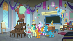 Size: 1920x1080 | Tagged: safe, screencap, gallus, ocellus, rainbow dash, sandbar, silverstream, smolder, yona, changedling, changeling, classical hippogriff, dragon, griffon, hippogriff, pony, yak, school daze, classroom, desk, student six, this will end in pain