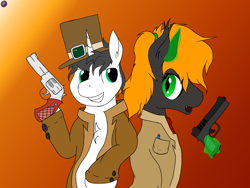 Size: 4096x3072 | Tagged: safe, artist:terminalhash, oc, oc:leonlisov, oc:ravery, demon, pony, unicorn, clothes, glock, gun, handgun, pistol, revolver, weapon