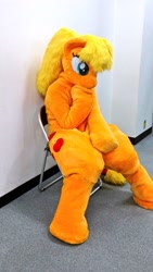 Size: 576x1024 | Tagged: artist needed, safe, applejack, human, cute, fursuit, irl, irl human, japan, photo, ponyfesta, ponysuit, sitting, solo, thinking