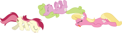 Size: 13875x3771 | Tagged: safe, artist:wissle, daisy, flower wishes, lily, lily valley, roseluck, earth pony, pony, applebuck season, absurd resolution, fainted, female, flower trio, lying, lying down, mare, on back, playing dead, simple background, the horror, tongue out, transparent background, vector