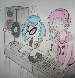 Size: 1024x1060 | Tagged: safe, artist:swiftdreamer15, dj pon-3, vinyl scratch, human, pony, unicorn, aelita schaeffer, code lyoko, crossover, disk jockey, duo, duo female, female, headphones, human and pony, mare, music notes, record, simple background, speaker, sunglasses, traditional art, turntable, white background
