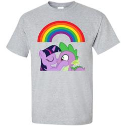 Size: 1155x1155   Tagged: safe, edit, spike, twilight sparkle, dragon, unicorn, clothes, female, kissing, male, pride, rainbow, shipping, shirt, straight, t-shirt, twispike