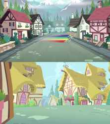Size: 1280x1440   Tagged: safe, edit, edited screencap, screencap, rainbow dash, equestria girls, green isn't your color, legend of everfree, mailbox, ponyville, town, unnamed town