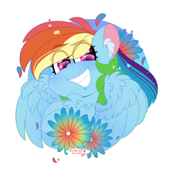 Size: 4000x4000 | Tagged: safe, artist:kawaiicofficial, artist:kawaiicreative, rainbow dash, pegasus, pony, abstract background, absurd resolution, bust, chest fluff, cute, dashabetes, ear fluff, eye clipping through hair, female, flower, heart eyes, mare, simple background, smiling, solo, transparent background, wingding eyes