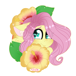 Size: 4000x4000 | Tagged: safe, artist:kawaiicofficial, artist:kawaiicreative, fluttershy, pegasus, pony, absurd resolution, bust, cute, ear fluff, eye clipping through hair, female, floppy ears, flower, looking at you, mare, part of a set, portrait, shyabetes, simple background, smiling, solo, transparent background