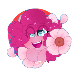 Size: 4000x4000 | Tagged: safe, artist:kawaiicofficial, artist:kawaiicreative, pinkie pie, earth pony, pony, absurd resolution, bust, cute, diapinkes, eye clipping through hair, female, flower, heart eyes, mare, open mouth, part of a set, portrait, simple background, solo, transparent background, white background, wingding eyes