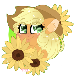 Size: 4000x4000 | Tagged: safe, artist:kawaiicofficial, artist:kawaiicreative, part of a set, applejack, earth pony, pony, absurd resolution, blushing, bust, cute, ear fluff, eye clipping through hair, female, flower, heart eyes, jackabetes, mare, portrait, simple background, smiling, solo, sunflower, transparent background, wingding eyes