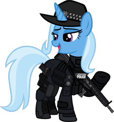 Size: 6000x6400 | Tagged: safe, artist:n0kkun, trixie, pony, unicorn, afp, armor, assault rifle, australia, boots, clothes, commission, female, gloves, gun, handgun, hat, hk416, holster, jacket, knee pads, mare, open mouth, part of a set, pistol, police, pouch, raised hoof, rifle, shoes, simple background, solo, transparent background, usp, weapon
