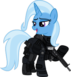 Size: 6000x6483 | Tagged: safe, alternate version, artist:n0kkun, trixie, pony, unicorn, afp, armor, assault rifle, australia, boots, clothes, commission, female, gloves, gun, handgun, hk416, holster, jacket, knee pads, mare, open mouth, part of a set, pistol, police, pouch, raised hoof, rifle, shoes, simple background, solo, transparent background, usp, weapon