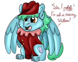 Size: 2500x2000 | Tagged: safe, artist:euspuche, oc, oc only, oc:azure glide, pegasus, angry, clothes, commission, cute, dialogue, male, ocbetes, show reference, sitting, stallion, star trek, star trek: the next generation, unshorn fetlocks, will scarlet, worf