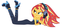 Size: 1024x456 | Tagged: safe, artist:emeraldblast63, sunset shimmer, equestria girls, the other side, adorasexy, bare shoulders, bedroom eyes, bodysuit, cute, headphones, sexy, simple background, sleeveless, solo, strapless, transparent background, unitard