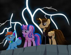 Size: 3900x3065 | Tagged: safe, artist:ejlightning007arts, oc, oc only, oc:ej, oc:hsu amity, oc:rainbow eevee, alicorn, eevee, pony, alicorn oc, badass, clothes, female, hill, horn, jacket, lightning, male, mare, not rainbow dash, not twilight sparkle, pokémon, rock, shirt, stallion, storm, t-shirt, wings
