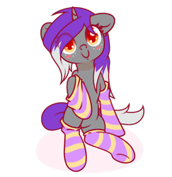 Size: 952x981 | Tagged: safe, artist:musicfirewind, oc, oc:belle eve, pony, unicorn, clothes, commission, horn, simple background, socks, solo, striped socks, transparent background, unicorn oc, ych result