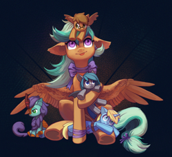 Size: 2192x2000 | Tagged: safe, artist:koviry, oc, oc:midnight dagger, oc:searing cold, oc:skydreams, oc:summer ray, oc:thistle down, bat pony, kirin, pegasus, pony, unicorn, :p, artificial wings, augmented, bat wings, blue eyes, bow, cute, female, glasses, green eyes, holding, hooves, horn, mare, pegasus wings, plushie, purple eyes, ribbon, tongue out, toy, wings