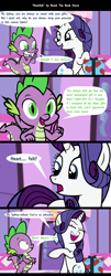 Size: 1920x4754 | Tagged: safe, artist:brook the book horse, rarity, spike, dragon, pony, unicorn, comic, dialogue, felt, female, gift box, male, mare, misunderstanding, present, pun, shipping, sparity, straight, winged spike