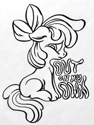 Size: 1280x1698 | Tagged: safe, artist:nelfs, apple bloom, earth pony, pony, on your marks, black and white, bow, cloven hooves, female, filly, grayscale, hair bow, monochrome, sad, simple background, solo, text, white background