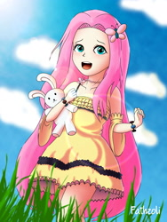Size: 3000x4000 | Tagged: safe, artist:fathzoli, fluttershy, human, adorable face, adorkable, bunny doll, cloud, cloudy, cute, digital art, dork, female, grass, grass field, high res, humanized, jewelry, lens flare, lensflare, looking at you, necklace, paint tool sai, photoshop, plushie, redraw, shyabetes, sky, solo, sunshine