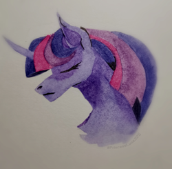Size: 2716x2666 | Tagged: safe, artist:princessluna325, twilight sparkle, pony, unicorn, canon, eyes closed, head, horn, photo, sad, solo, traditional art, watercolor painting