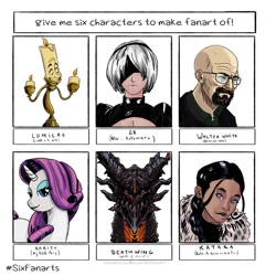 Size: 1080x1080 | Tagged: safe, artist:animathish, rarity, pony, unicorn, six fanarts, 2b, avatar the last airbender, bald, beard, beauty and the beast, blindfold, breaking bad, bust, candle, crossover, dark skin, deathwing, facial hair, female, glasses, humaan, katara, lumiere, makeup, male, mare, nier: automata, smiling, solo, walter white, warcraft, world of warcraft