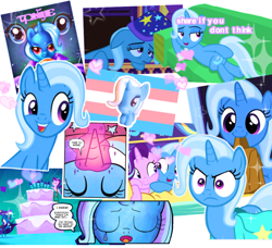 Size: 640x584 | Tagged: safe, edit, edited screencap, idw, screencap, starlight glimmer, trixie, pony, unicorn, my little pony: the movie, no second prances, road to friendship, to where and back again, collage, female, heart, lgbt headcanon, mare, pride, pride flag, trans trixie, transgender, transgender pride flag