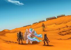 Size: 3508x2480 | Tagged: safe, artist:joeduncan, oc, oc:jocasta, oc:navarone, fanfic:diaries of a madman, crossbow, crossover, desert, peridot (steven universe), steven universe, wings