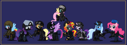 Size: 10000x3524 | Tagged: safe, artist:n0kkun, applejack, fluttershy, pinkie pie, rainbow dash, rarity, starlight glimmer, sunset shimmer, trixie, twilight sparkle, alicorn, earth pony, pegasus, pony, unicorn, accuracy international, afp, ak-103, armor, assault rifle, aug, australia, awm, balaclava, belt, beret, blue background, boots, bope, brazil, british, bullet, clothes, colt canada c8nld, commission, cuffs, ear piercing, earpiece, earring, face paint, famas, female, fingerless gloves, flying, france, fsb, german, gign, glock, glock 17, gloves, goggles, grenade, gsg9, gun, handgun, hat, helmet, hk416, holster, imbel md97, jacket, jewelry, knee pads, knife, m4a1, mane six, mare, model 686, mp5, mp5k, mp7, netherlands, open mouth, p-965, p90, pants, piercing, pistol, police, pouch, radio, raised hoof, raised leg, remington 870, revolver, rifle, royal marechaussee, sawed off shotgun, sco19, sek, shirt, shoes, shotgun, shotgun shell, simple background, skull, sniper, sniper rifle, steyr aug, submachinegun, swat, twilight sparkle (alicorn), united kingdom, united states, usp, visor, wall of tags, weapon