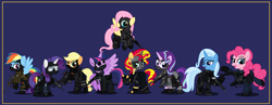 Size: 9999x3886 | Tagged: safe, alternate version, artist:n0kkun, applejack, fluttershy, pinkie pie, rainbow dash, rarity, starlight glimmer, sunset shimmer, trixie, twilight sparkle, alicorn, earth pony, pegasus, pony, unicorn, accuracy international, afp, ak-103, armor, assault rifle, aug, australia, awm, balaclava, belt, blue background, boots, bope, brazil, british, bullet, clothes, colt canada c8nld, commission, cuffs, ear piercing, earpiece, earring, face paint, famas, female, fingerless gloves, flying, france, fsb, german, gign, glock, glock 17, gloves, grenade, gsg9, gun, handgun, hk416, holster, imbel md97, jacket, jewelry, knee pads, knife, m4a1, mane six, mare, model 686, mp5, mp5k, mp7, netherlands, open mouth, p-965, p90, pants, piercing, pistol, police, pouch, radio, raised hoof, raised leg, remington 870, revolver, rifle, royal marechaussee, sawed off shotgun, sco19, sek, shirt, shoes, shotgun, shotgun shell, simple background, skull, sniper, sniper rifle, steyr aug, submachinegun, swat, twilight sparkle (alicorn), united kingdom, united states, usp, wall of tags, weapon