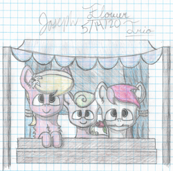 Size: 3576x3520 | Tagged: safe, artist:mlplayer dudez, daisy, flower wishes, lily, lily valley, roseluck, earth pony, pony, cel shading, chest fluff, colored, cute, ear fluff, flower, flower in hair, flower trio, graph paper, mouth hold, rose, shading, signature, traditional art, trio