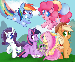 Size: 1623x1349 | Tagged: safe, artist:therainbowtroll, applejack, fluttershy, pinkie pie, rainbow dash, rarity, spike, twilight sparkle, alicorn, dragon, earth pony, pegasus, pony, unicorn, balloon, book, colored pupils, cute, female, floating, floppy ears, flying, looking at you, male, mane seven, mane six, mare, rainbow trail, sitting, smiling, straw in mouth, then watch her balloons lift her up to the sky, twilight sparkle (alicorn), winged spike