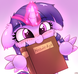 Size: 2500x2400 | Tagged: safe, artist:heavymetalbronyyeah, twilight sparkle, alicorn, pony, :t, blushing, book, bookhorse, cheek fluff, chest fluff, cute, ear fluff, ear tufts, female, floppy ears, fluffy, glowing horn, gradient background, high res, hoof fluff, hoof hold, horn, knowledge, leg fluff, looking at you, magic, mare, mouth hold, nom, open mouth, smiling, solo, spread wings, that pony sure does love books, twiabetes, twilight sparkle (alicorn), weapons-grade cute, wings