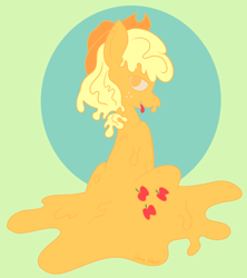 Size: 1194x1346 | Tagged: safe, artist:amynewblue, applejack, earth pony, gakpony, goo, goo pony, original species, pony, apple, applejack's hat, cowboy hat, food, gak, hat, slime, solo, wet