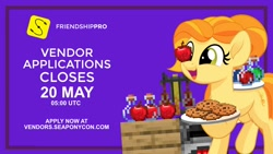 Size: 1024x576 | Tagged: safe, artist:seaponycon, oc, oc:kwankao, earth pony, pony, project seaponycon, apple, cookie, female, food, mare, minecraft, nation ponies, ponified, smiling, thailand