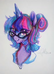 Size: 1280x1729 | Tagged: safe, artist:goldenrainynight, twilight sparkle, pony, alternate hairstyle, bust, cute, female, glasses, hair bun, looking at you, mare, portrait, signature, simple background, smiling, solo, traditional art, twiabetes, white background
