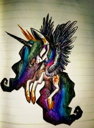 Size: 2982x4022 | Tagged: safe, artist:goldenrainynight, princess celestia, alicorn, pony, female, flying, lined paper, mare, solo, traditional art