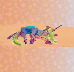 Size: 2950x2866 | Tagged: safe, artist:alumx, queen chrysalis, changeling, changeling queen, abstract background, female, horn, lying down, solo, wings