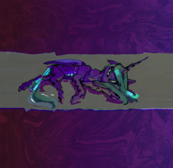 Size: 2950x2866 | Tagged: safe, artist:alumx, queen chrysalis, changeling, changeling queen, abstract background, dark, female, horn, lying down, solo, wings