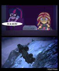 Size: 1288x1572 | Tagged: safe, edit, edited screencap, editor:teren rogriss, screencap, sci-twi, sunset shimmer, twilight sparkle, equestria girls, equestria girls series, sunset's backstage pass!, spoiler:eqg series (season 2), glasses, mako, mass effect, vehicle