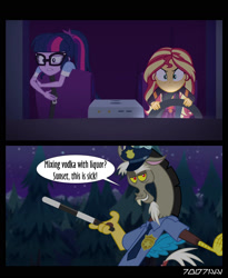 Size: 1288x1572 | Tagged: safe, edit, edited screencap, editor:teren rogriss, screencap, discord, sci-twi, sunset shimmer, twilight sparkle, draconequus, equestria girls, equestria girls series, sunset's backstage pass!, spoiler:eqg series (season 2), clothes, discop, glasses, officer discord, police, police officer, police uniform, uniform