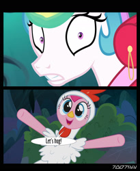 Size: 1288x1572   Tagged: safe, edit, edited screencap, editor:teren rogriss, screencap, pinkie pie, princess celestia, alicorn, earth pony, between dark and dawn, alektorophobia, animal costume, chicken pie, chicken suit, clothes, costume, forest, frightened, that princess sure is afraid of chickens